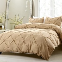 PINCH PLEAT DESIGN KHAKI BEDDING SET-INCLUDES COMFORTER AND DUVET COVER - STYLE # 1006 C - CHERRY HILL COLLECTION