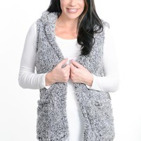 Charcoal Sherpa Hooded Vest
