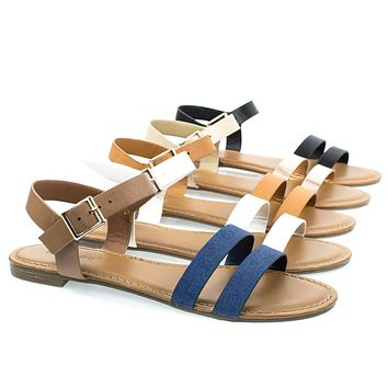 Inspire49M By Bamboo, Women's Flat Sandal w Double Front Strap & Ankle Strap