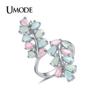 UMODE Candy Colorful Rings For Women 2016 New White Gold Plated CZ Cocktail Rings Fashion Jewelry Anillos Bague AUR0361B