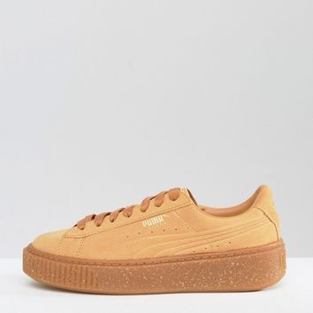 Puma Platform Sneakers In Biscuit Suede With Speckle Gum Sole at asos.com
