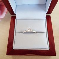 1/2 carat 5mm Solitaire Engagement Ring, 4 Prong, Round Man Made Diamond Simulant, Wedding, Promise Ring, Bridal Sterling Silver or 14k Gold