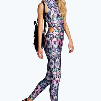 Holly High Neck Cut Side Festival Catsuit