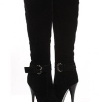 Black Faux Suede Buckle Strapped AMIclubwear Boots @ Amiclubwear Boots Catalog:women's winter boots,leather thigh high boots,black platform knee high boots,over the knee boots,Go Go boots,cowgirl boots,gladiator boots,womens dress boots,skirt boots,pink b