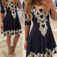 Navy Lace Embroidered Three Fourth Sleeve Pleated Mini Skater Dress