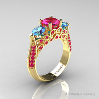 Classic 14K Yellow Gold Three Stone Blue Topaz Pink Sapphire Solitaire Ring R200-14KYGBTPS