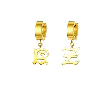 Mister Old English Initial Earrings