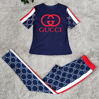 GUCCI GG fashion blue slim printed casual trousers two-piece suit