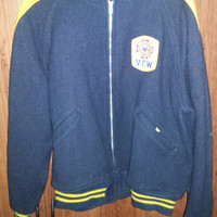 Vintage 1960s Dark Blue and Yellow VFW Wool Jacket - Size Large -