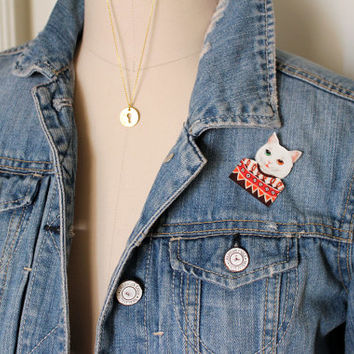 Cat Brooch : White Tabby Cat Wearing Ugly Sweater, Pin, Button, Fashion Accessory, Conversation Piece, Cats Wearing Clothing