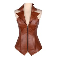 Daisy Corsets Top Drawer Steel Boned Faux Leather Collared Corset