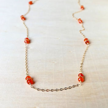 Bright, Orange Carnelian Gemstone Rondelles with 24k Gold Vermeil Bali Beads, 14k Gold Fill Station Necklace, Long Layers, Gemstone Necklace