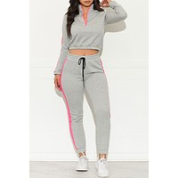 No Excuses Two Piece Set Grey Pink