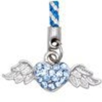 Flying Heart (Blue) Cellphone Charm CH393BL for Pantech cell