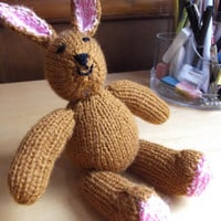 Brown rabbit - pink ears and soles - Christmas/birthday/small cuddly toy