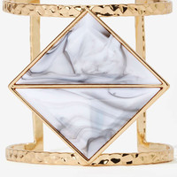 Gold Geometrical White Stone Cut Cuff Bracelet