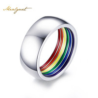 Meaeguet Inside Rainbow Ring For Men Stainless Steel Wedding Ring 8MM Wide Gay Pride LGBT Jewelry