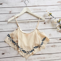 Georgette Boho Crop Top (Cream)