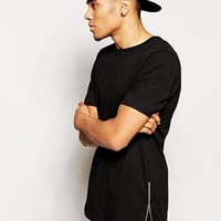 River Island T-Shirt in Longline with Zips at asos.com