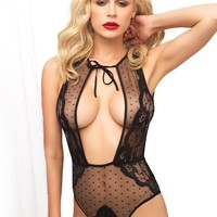 Swiss dot sheer and lace brazillian back teddy and T-stra