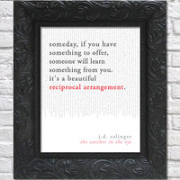 literary art print / book quote // the catcher in the rye; j.d. salinger