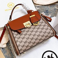 Hipgirls MK New fashion more letter print leather shoulder bag crossbody bag handbag Brown