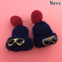 Hot Sale Cute Design Hat Earrings Autumn And Winter Long Section Fur Ball Earrings For Women Christmas Jewelry