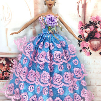 NK One Pcs 2016 Princess Wedding Dress Noble Party Gown For Barbie Doll Fashion Design Outfit Best Gift For Girl' Doll 023A