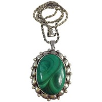 Pre-owned Large Sterling Silver Malachite Necklace 925