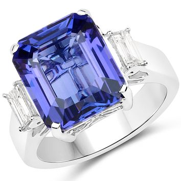 18K White Gold Natural 10.2CT Emerald Cut Tanzanite and Earth Mined White Diamond Engagement Ring