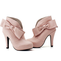 Lovely and Fashionable Style Bowknot and Rhninstone Embellished High-Heeled Ankle Boots For Women China Wholesale - Everbuying.com