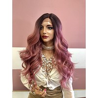 """Pink Brown Ombre Lace Front Wig 22"""" 219 