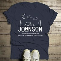Men's Personalized Camping T-Shirt Tent Line Art Moon Shirts Custom Hipster Tee