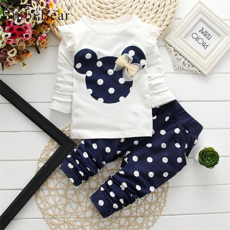 Image of 2021 New Kids Clothes Girl Baby Long Rabbit Sleeve Cotton Minnie Casual Suits Baby Clothing Retail Children Suits Free Shipping