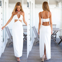 Stylish Lady Women Sexy V-Neck Cross Strap Hollow Backless Package Hip Cocktail Beach Long Dress