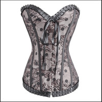 Womens Victorian Gothic Bustier Boned Corset Top size S,M,L,XL,XXL ,Purple, Red, green, blue, gray = 1715451332