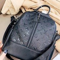 LV Louis Vuitton New fashion monogram leather school bag book handbag backpack bag Black