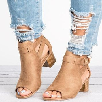 Fashion New Large Size Women's Shoes Fashion High-heeled Sandals Women Brown