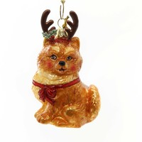 Holiday Ornaments DOG WITH ANTLERS ORNAMENT Christmas Puppy Nb1261 Pomeranian