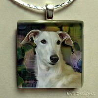 WHITE GREYHOUND DOG 1 inch square glass tile pendant ... Free chain
