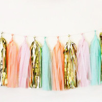 Garland tassel metallic gold, pink, peach, and mint tissue paper tassel // birthday // wedding // baby shower