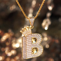 Designer B With Crown Pendant 14k Yellow Gold Finish Fully Iced Out Hip Hop