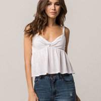 SOCIALITE Twist Front White Womens Babydoll Tank Top