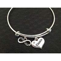Infinity Cousin Heart and crystal on a Silver Expandable Bangle Bracelet Meaningful Reunion Gift