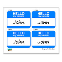 John Hello My Name Is - Sheet of 4 Stickers
