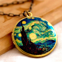 The Starry Night art paint Image by Vincent van Gogh Photo Locket Necklace NL40