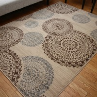 4300 Beige Medallion Contemporary Area Rugs