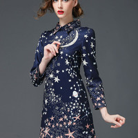 Dark Blue Night Sky Print Pointed Flat Collar Long Sleeve Mini Dress