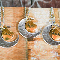I love you to the Moon and Back Crescent Moon Set for Grandma Mother and Daughter, Three Generation gift set , Moon Necklace Gift Set