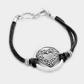 Filigree Heart & Faux Suede Toggle Bracelet